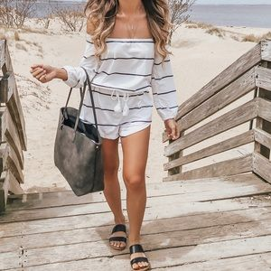 Pants - White off the shoulder striped long sleeve romper